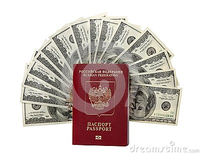 Hundred dollar bills fan with a passport