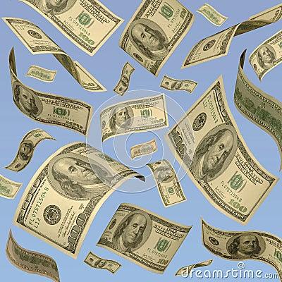 Hundred dollar bills floating against blue sky.