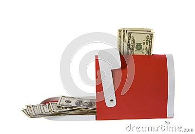 Hundred Dollar Bills Flowing Mailbox