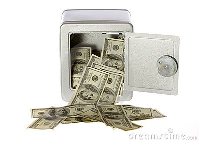 Hundred Dollar Bills in open Safe