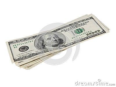 Hundred dollar bills with outline
