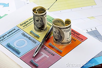 Hundred dollar bills and a pen on swot analysis