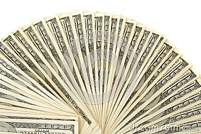 Hundred dollar bills spiral
