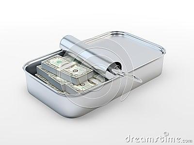 Hundred dollar bills in a tin can