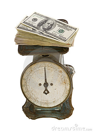 Hundred Dollar Bills Weigh on Antique Scale