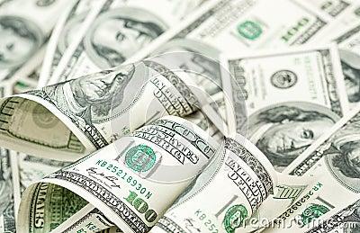 Hundred dollars bills heap