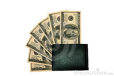 Hundred dollars bills in a wallet