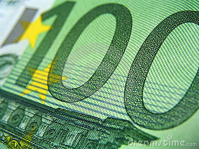 Hundred eur banknotes, detail
