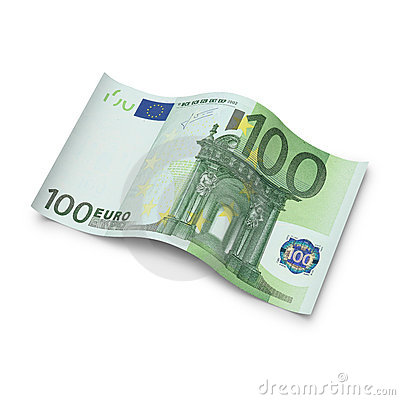 Hundred Euro note on white background