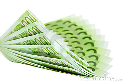 Hundred euro notes building a bent fan shape