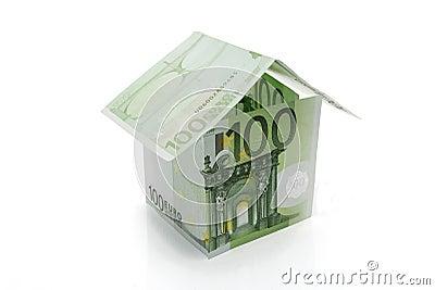 Hundred euros banknotes house