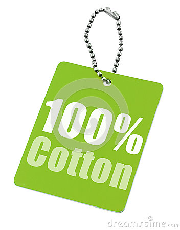 Hundred percent cotton tag