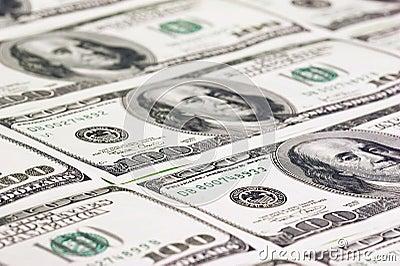 Hundred US dollars close up