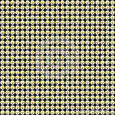 Hundreds of fried eggs