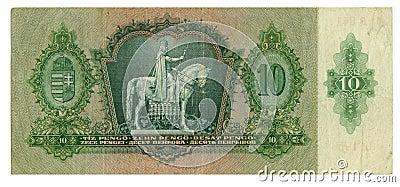 Hungarian banknote at 10 pengo, 1936 year
