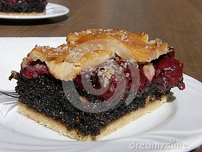 Hungarian cherry and poppy-seed pie