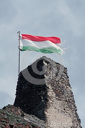 Hungarian flag on the ruin of a castle