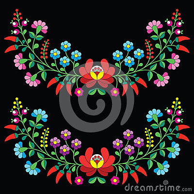 Free Hungarian Floral Folk Pattern - Kalocsai Embroidery With Flowers And Paprika Stock Photos - 53024163