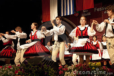 Hungarian folk dancers at a festival Editorial Stock Image