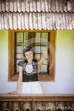 Hungarian girl in national clothes
