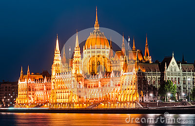 Hungarian Parliament, night view, Budapest