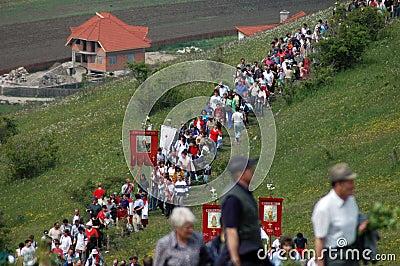 Hungarian pilgrims celebrating the Pentecost Editorial Photo