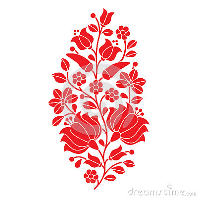 Free Hungarian Red Folk Pattern - Kalocsai Embroidery With Flowers And Paprika Stock Photography - 62136542