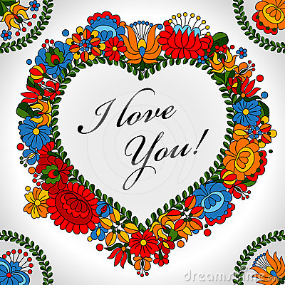Free Hungarian Traditional Folk Ornament Heart Background Royalty Free Stock Photo - 24414675