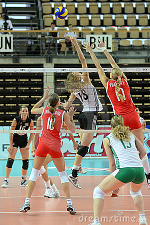 Hungary - Bulgaria volleyball game Editorial Stock Image