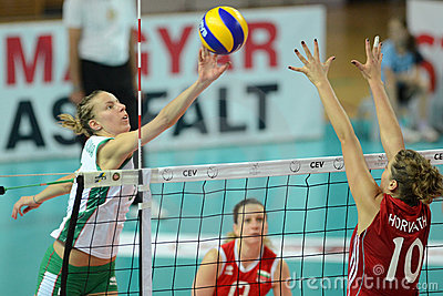 Hungary - Bulgaria volleyball game Editorial Stock Photo