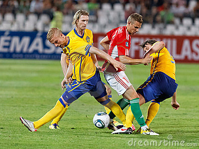 Hungary vs. Sweden football game Editorial Stock Photo