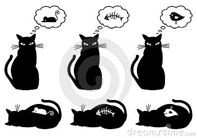 Hungry and bellyful cat, Vector Illustration