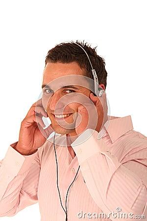 Hunky Man Enjoying Music