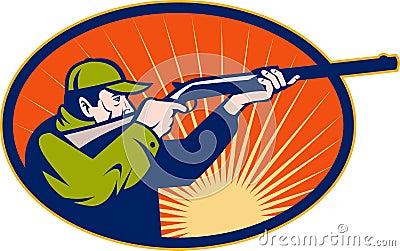 Hunter aiming rifle shotgun