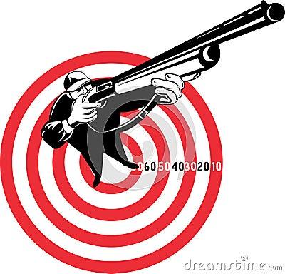 Hunter aiming a shotgun rifle