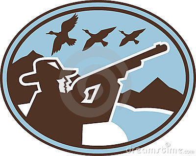 Hunter aiming shotgun wild birds