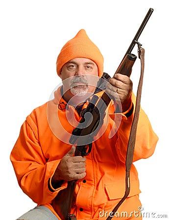 Hunter in blaze orange gear