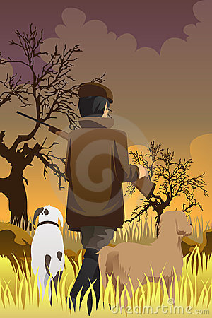 Hunter with two dogs