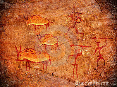 Hunters on cave paints