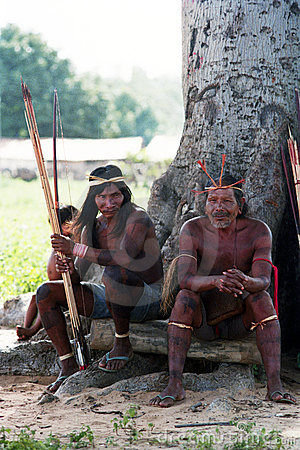 Hunters Krikati - Native indians of Brazil Editorial Photography