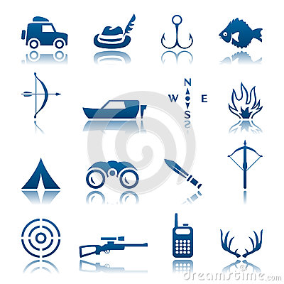 Free Hunting And Fishing Icon Set Royalty Free Stock Image - 24803916