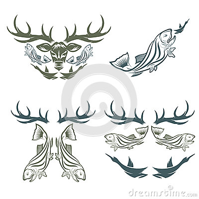 Free Hunting And Fishing Labels And Design Elements Stock Photography - 60210202