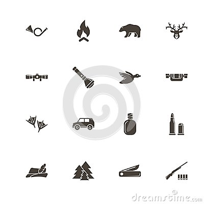 Free Hunting - Flat Vector Icons Royalty Free Stock Photos - 107326968