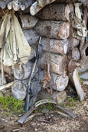 Hunting gear at log cabin