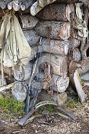 Hunting gear at log cabin
