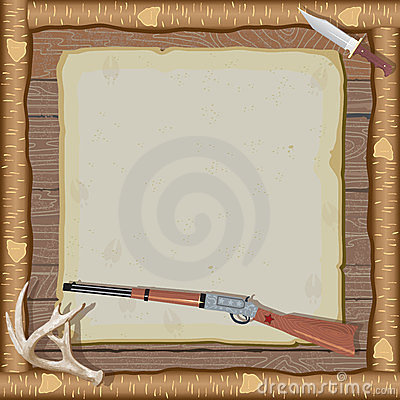 Free Hunting Invitation With Wood Frame Royalty Free Stock Images - 23646399