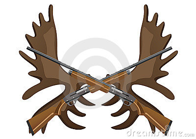 Hunting rifles and antlers of elk