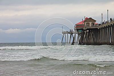 Huntington Beach Pier on a gloomy day