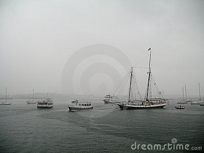 Hurricane Irene drenches Boston Harbor Editorial Image