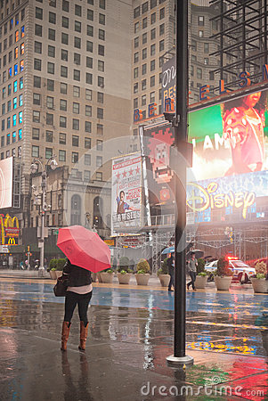 Hurricane Sandy at Times Square Editorial Photography